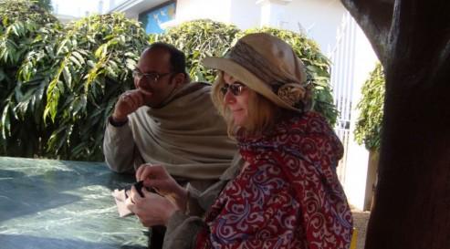 Sampurna - Doris in her new kantha scarf