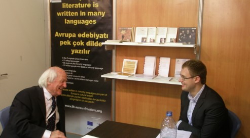 Ned Thomas and Janis Oga at the LAF stand at the Istanbul Book Fair