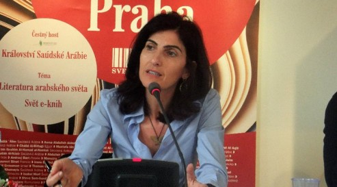 Fatima Sharafeddine speaking at the Prague Book Fair 2011