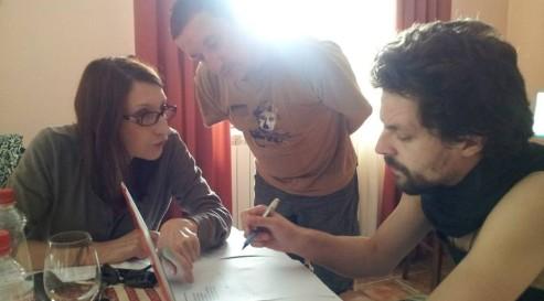 Patrizia Gattaceca, Brane Mozetič and Tibor Hrs Pandur at a Translation workshop, Slovenia, 2013, photo by Tsead Bruinja