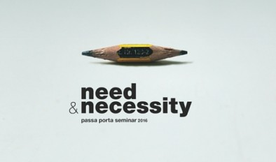 The logo for Passa Porta's need & necessity seminar featuring a much sharpened pencil