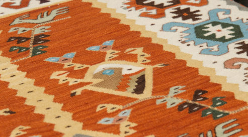 Picture of Bulgarian hand-made rag-carpets, different colors, detail