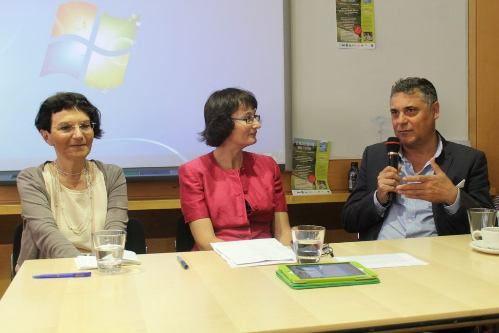 Ioana Parvulescu, moderator Fiona Sampson and Alek Popov